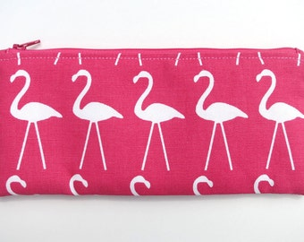 Pink Flamingo Zipper Pouch, Flamingo Pencil Pouch, Cosmetic Bag, Pencil Case, Flamingo Bag, Gifts for Women, Purse Inset, Pink Pencil Pouch