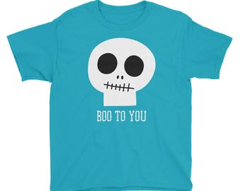 Halloween T-Shirt, Skull, Skeleton Youth Shirt