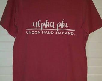 Alpha Phi 108 Motto Shirt Comfort Color TShirt, Short Sleeve or Long Sleeve