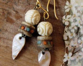 carved bone jewelry - 1930s rose beads and 1980s Tibetan mala with mother of pearl spears - 24k gold vermeil hooks - bohemian jewelry