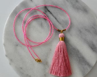 Pink Tassel Necklace, Tassel Necklace, Beaded Necklace, Beaded Tassel Necklace, Seed Bead Necklace, Glass Bead Necklace, Neon Pink Beads