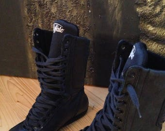 Buffalo black leather boots - size 37 eur, 6.5 us, 4 uk