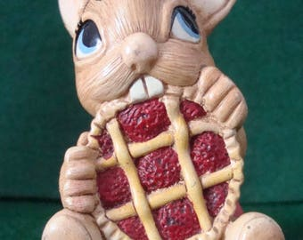 """Vintage PENDELFIN Hand Painted Stoneware Rabbit From England - This is """"Picnic Midge"""" in Red Polka Dot Apron Eating a Cherry Pie"""