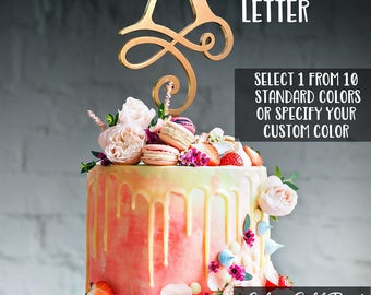 Single Letter Cake Topper with your Initial. Monogram wedding cake topper. Initial cake topper. Cake topper monogram.