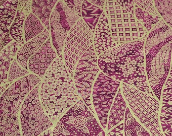 Mariko-Maroon and Gold Cotton Fabric from P&B Textiles
