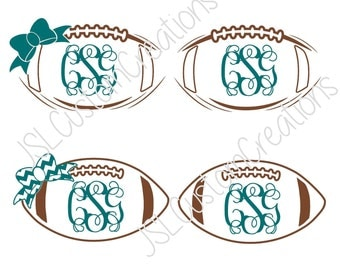Football Monogram SVG, DXF, EPS, Png Cut Files for Silhouette, Cricut, Vectors, Girly, Sports, Chevron Bow, Football Outline, Frame, Custom