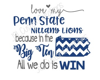 Penn State SVG, eps, DXF, png Cut Files for Silhouette, Cricut, Vectors, Nittany Lions, Football, College, Sports, Big Ten, Chevron State