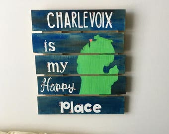 Charlevoix Michigan Wood Pallet Sign Decor Wall Art