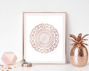 Mandala wall decor Rose gold print Mandala artwork Mandala printable Instant download Geometric print Meditation art Modern home decor