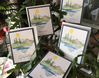 Mountain Scene All Occasion Card Set, Mountains, Evergreens, Lake, Sun, Waterfront Stampin' Up set, DawnsBlanchCards, Set of 5 Note Cards