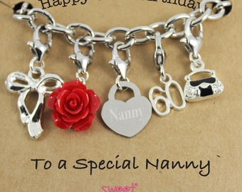 Happy 60th Birthday Rose Lucky Charm Bracelet Gift for Sister, Mam, Nanny, Grandma, Niece, Auntie, Step Mother, Special Friend.
