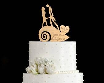 Nightmare before christmas wedding cake topper,jack skellington and sally cake topper,jack sally topper,jack and sally wedding toppers,52316