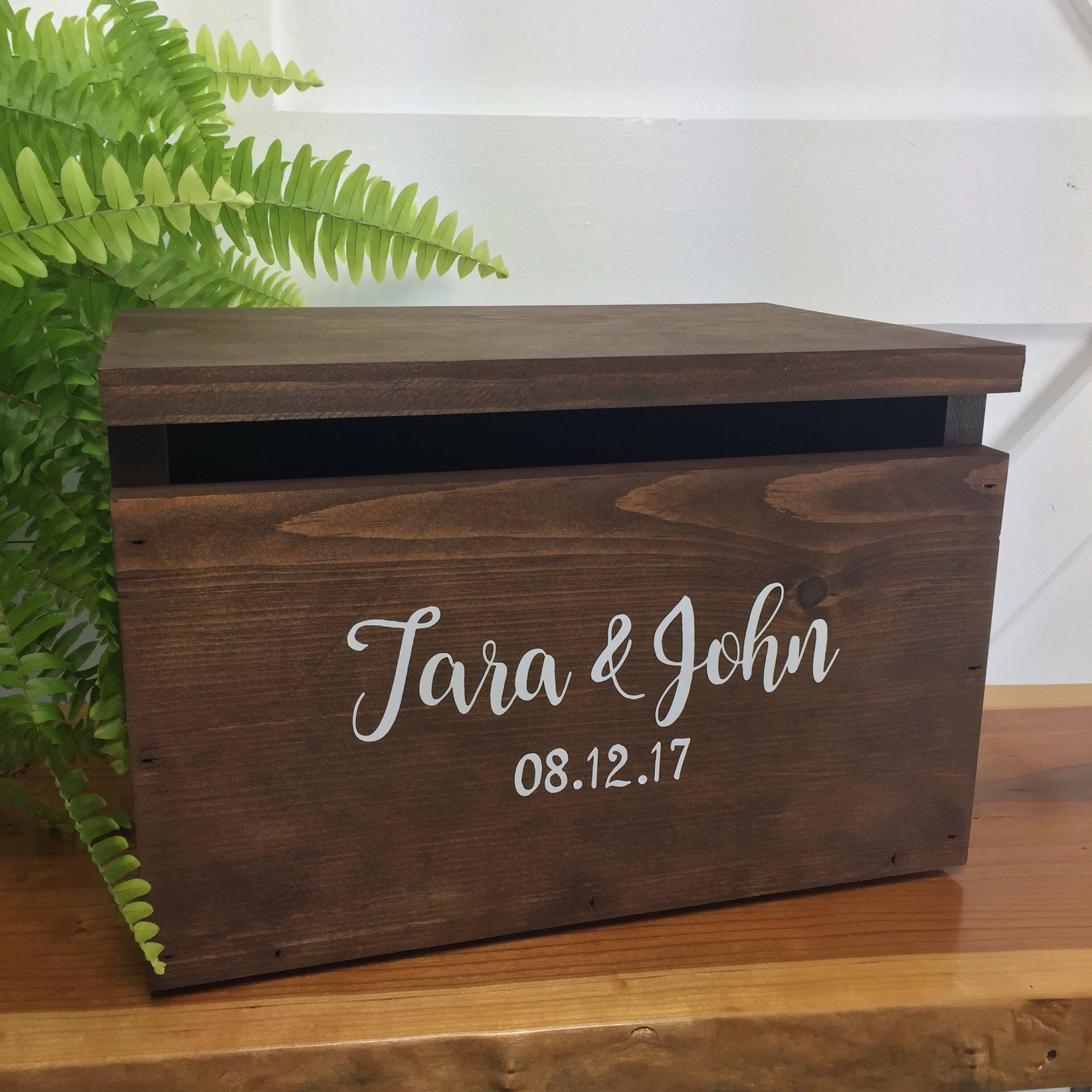 Wedding Card Box Rustic Personalized Wood item by braggingbags |Wooden Chest For Wedding Cards