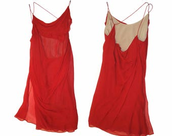 HELMUT LANG Archive red mini dress, sz 4 fiery red, deconstructed bias cut, excellent condition, collectible piece