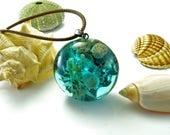 beach resin pendant, resin ocean pendant, ocean pendant, resin wood necklace, real shell necklace, nature inspired pendant, wave jewelry