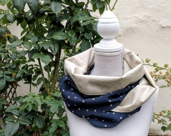 Navy Blue snood with beige polka dots