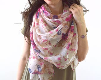 Rose Scarf, Flower Scarf, Woman Scarf, Floral Print Scarf, Gift for Her, Fashion Scarf, Woman Scarf Shawl