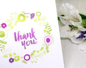 Handmade Thank You Card - Hand Stamped Floral Thank You Card - Hand made Thanks Card - Green & Purple Thank You Card - Thank You Note Card