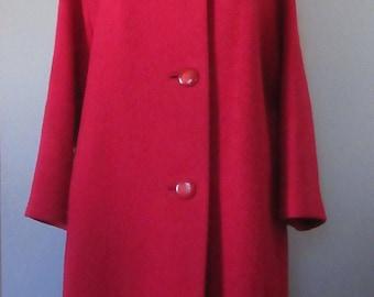 Red Stevens Hockanum Topaz Coat with Fur Collar