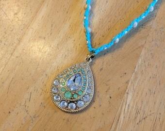 Gold Pendant Necklace, Turquoise Necklace, Hemp Necklace, Turquoise Hemp, Rhinestone Pendant, Turquoise Pendant, Pendant Necklace, Aqua Hemp