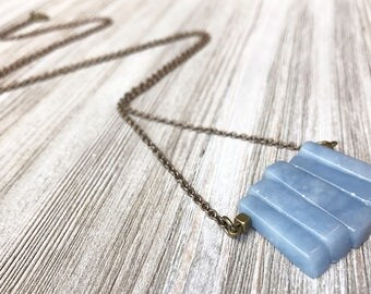 Angelite Pendant Necklace // Natural Stone Necklace // Long Necklace // Boho Necklace // Modern Necklace // Unique Necklace // Handmade