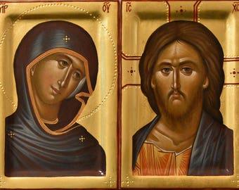 Mother of God Jesus Christ Byzantine orthodox icon egg tempera