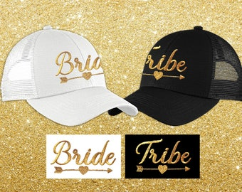 Bride Tribe Hats - Bachelorette Party Hats - Bride & Bridesmaids Embroidered Trucker Hats - Matching Metallic Gold Bride Tribe Trucker Hats