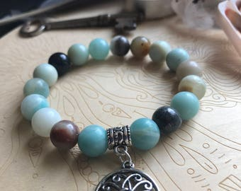 7.5 inch Amazonite with tree of life charm