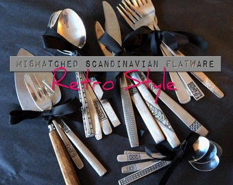 Mismatched Retro Style flatware set, service for 4, 8, 12+, cutlery set, flatware set, vintage silverware, mid century modern, mothers day