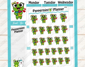 Lilly Pad loves her Happy Mail --- Hand drawn --- planner stickers --- 258