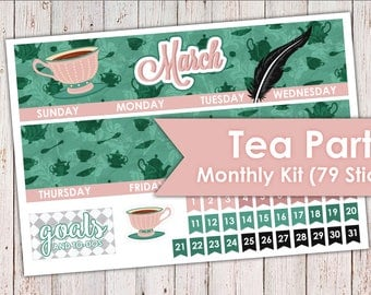 Tea Party March Monthly Kit | Erin Condren Planner Stickers 79 Stickers