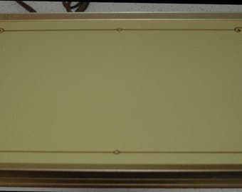 Cornwall Electric Warming Tray Model 1418.  Yellow with Brown Design and Gold Trim and Wooden Handles