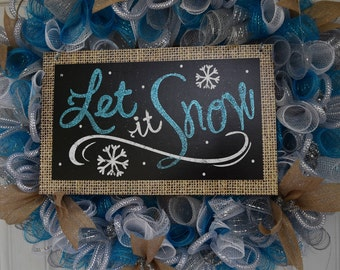 Let it Snow Holiday Wreath, Christmas, Wreath, Holiday,