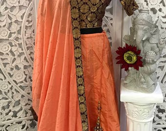 3pc Banarasi Silk croptop set
