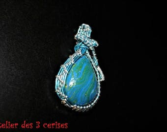 Blue polymer clay, decorated with aluminium Bead Necklace.