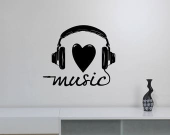 Love Music Wall Decal Headphones Vinyl Sticker Heart Inspirational Art Lifestyle Decorations for Home Room Bedroom Studio Musical Decor hds2