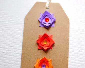 Colorful origami gift tags