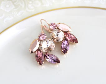 Bridal earrings, Bridal jewelry, Rose gold earrings, Swarovski earrings, Blush crystal earrings, Bridal earrings, Wedding jewelry, Cluster