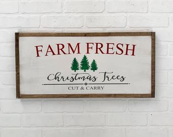 Farm Fresh Christmas Trees Sign | Christmas Sign | Farmhouse Christmas | Farmhouse Holiday | Christmas Decor | Hand Painted