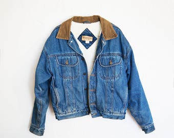 Denim Jacket with wool lining and corduroy collar