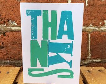 Handprinted Letterpress 'Thank You' Card