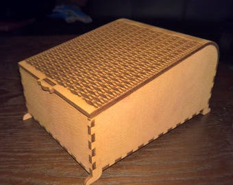 """Living Hinge Jewlery Box, Laser Cut, 4 1/2"""" x 6"""" x 3"""", Fine paterned top with engravings."""