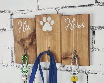 His hers key rack, key and lead rack, rustic wall key hook, lead holder, his hers sign, housewarming gift, dog lead holder, key hook