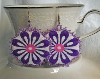 Purple Daisy Earrings, textile jewerly, eco friendly, OOAK, handmade, upcycled fabric