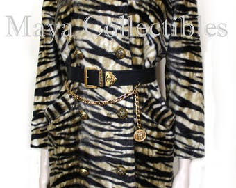 Vintage Leopard Faux Fur Coat by Safari La France Animal Print S/M