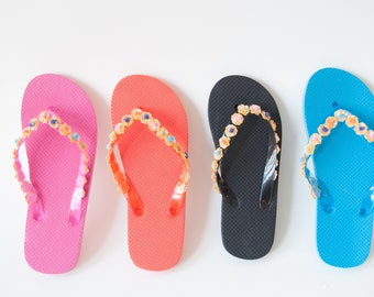 Glitter Flip Flops!  Glittery Bridal Sandals, Beachy Flower Bling Footwear, Floral Sandals, Sparkly Bedazzled Shoes!