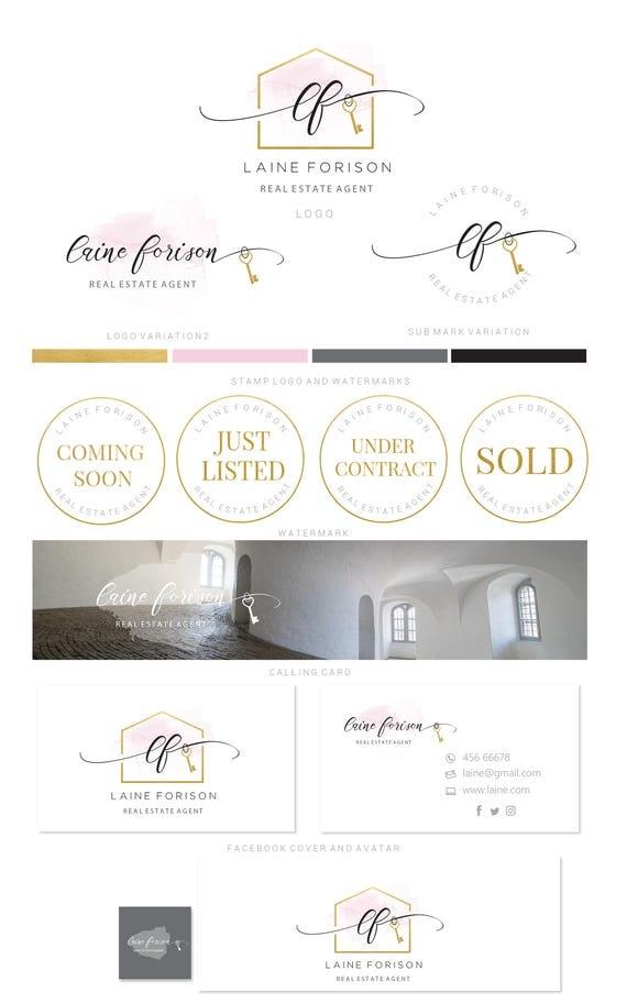 Branding kit logo design real estate watercolor pink golod