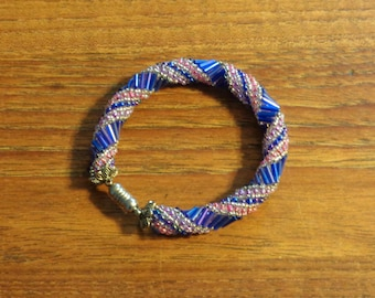 Blue, Purple and Pink Glass Seed Bead Bangle Bracelet with Magnetic Closure