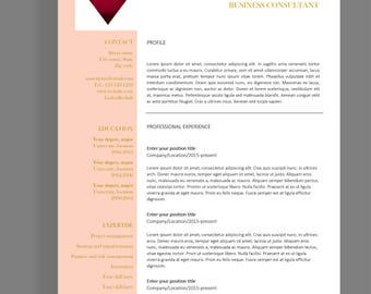 "Resume template 4 page | CV template + cover letter for MS Word | Instant digital download | Professional template | ""Anne"""
