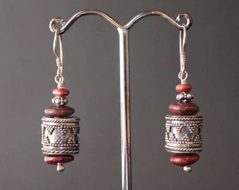 Red Jasper and Sterling Silver Beads Earrings